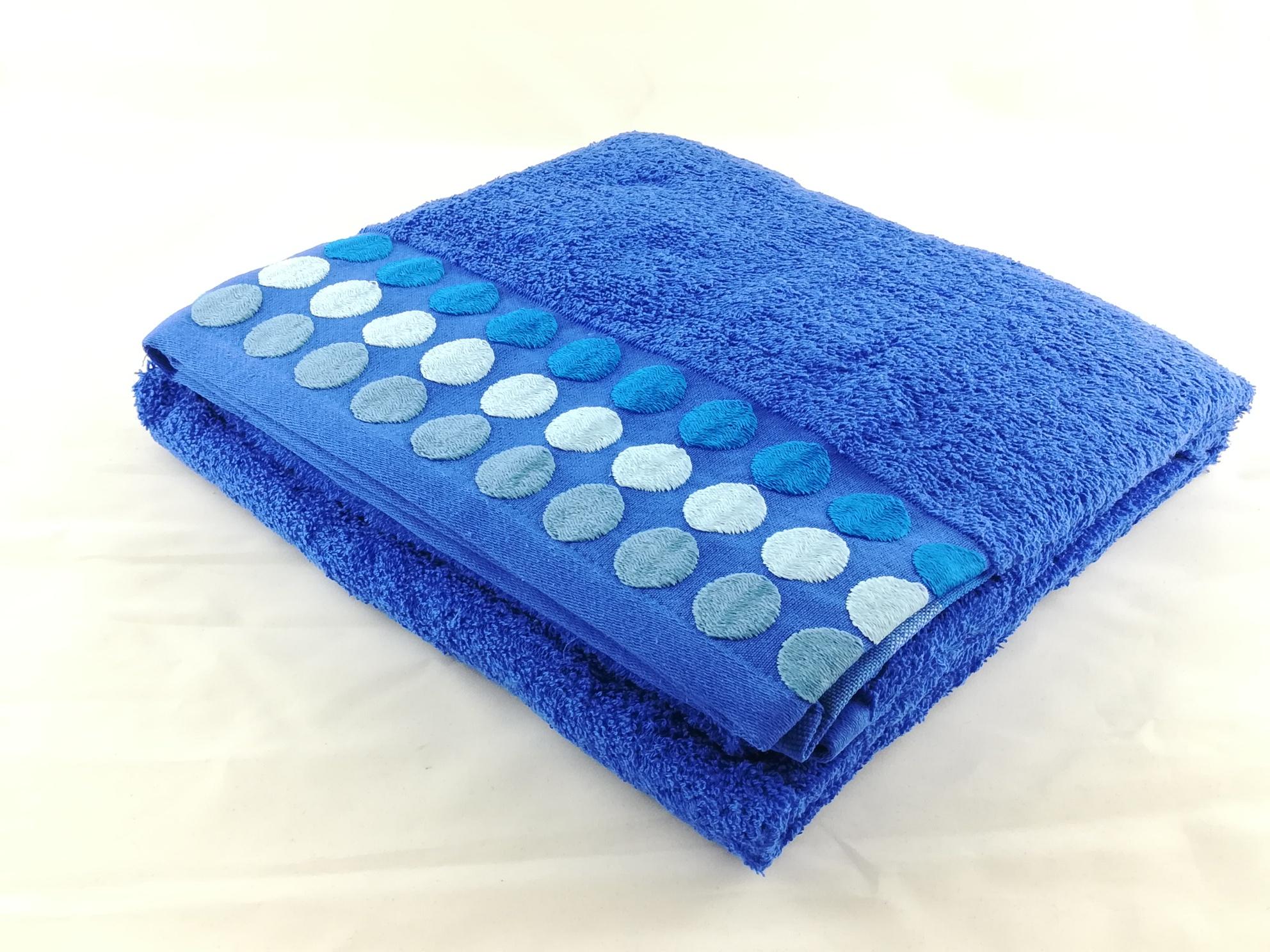 Juego Toallas 3pcs Dots Azul Royal